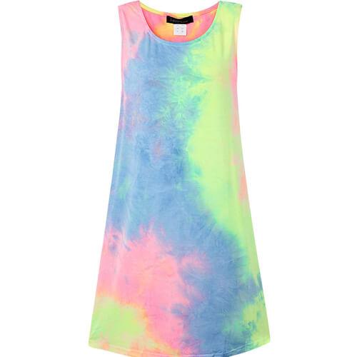 Ärmellos Rundhals Kleid Longshirt Damen Festival Outfit