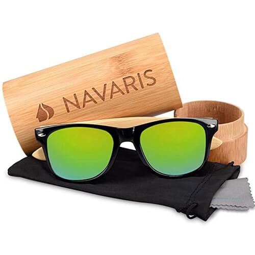 Navaris Holz Sonnenbrille Unisex Festival Zubehör-3